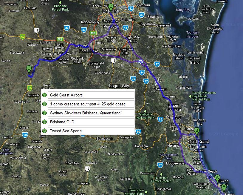 Brisbane Area Trip Map